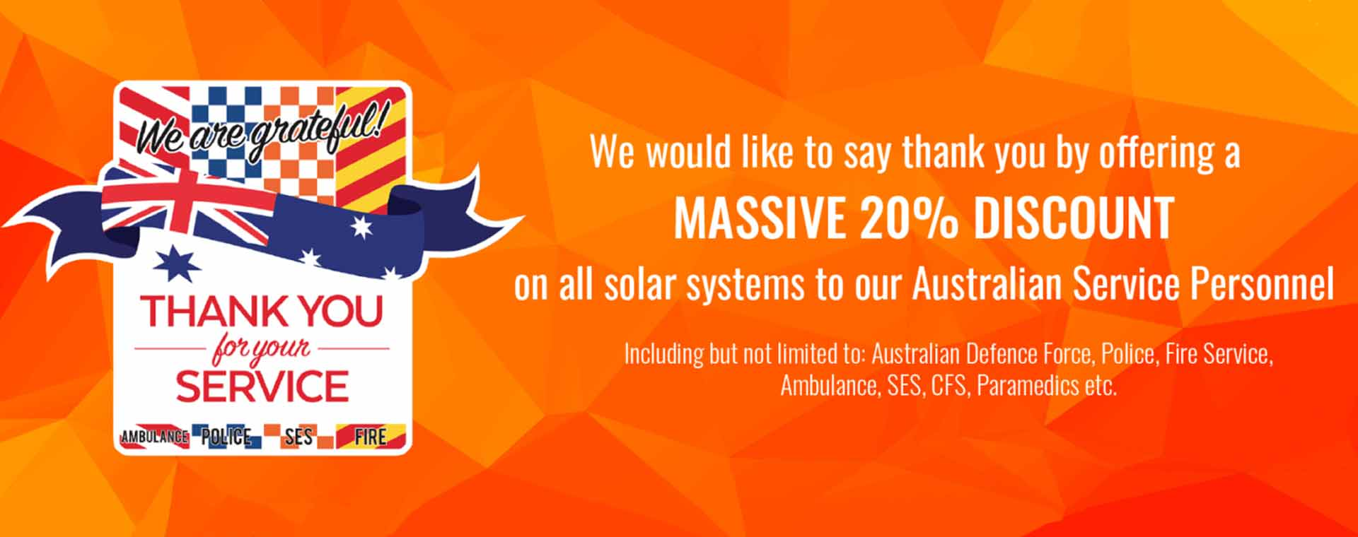 20% discount on solar systems to Australian Service Personnel